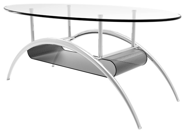 Ryan Rove Cleveland 38 Inch Glass Coffee Table With Black Mesh Magazine  Holder Contemporary Coffee