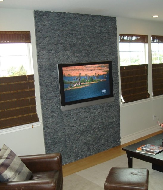 Gray Black Stacked Pebble Tile Living Room Wall Modern