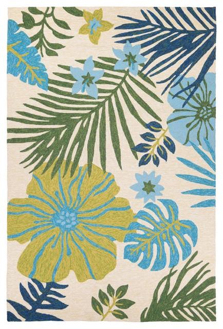 Couristan Covington Summer Laelia Indoor/outdoor Area Rug, Ivory-Fern, 8&x27;x11&x27;.