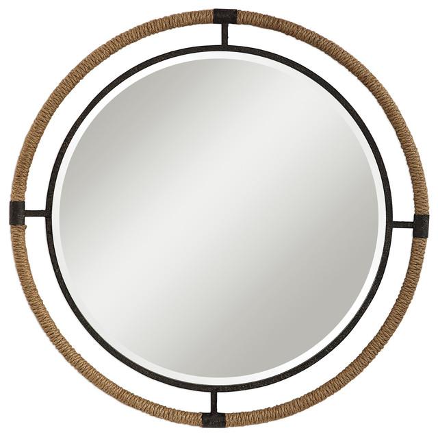 Coastal Rope Wred Frame Round Wall Mirror Black 36 Vanity Rustic Cottage