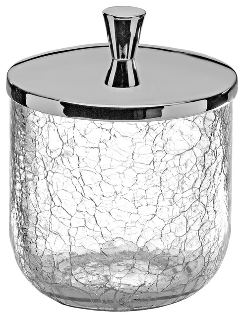 Crackle Cotton Ball Swap Pad  Container Cup Holder  Chrome contemporary  bathroom canisters. Hispania Bath Crackle Cotton Ball Swap Pad Container Cup Holder