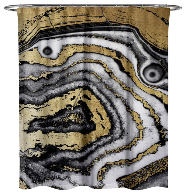 Oliver Gal Gold Night Agate Shower Curtain