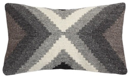 "Hand Loomed Wool Modern Gray Pillow Cover, 12""x20""."