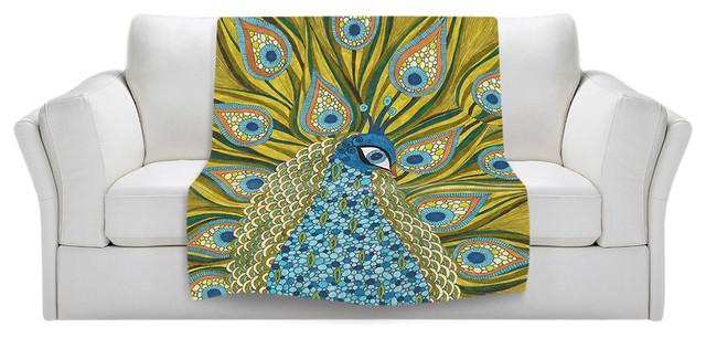 "The Peacock Throw Blanket, 40""x30""."