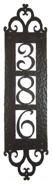 Spanish style hammered iron vertical address plaque 3 for Spanish style house numbers