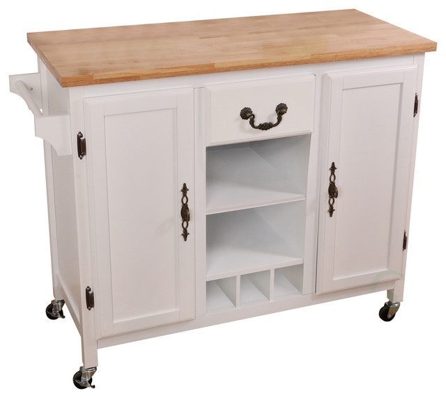 Large Wooden Kitchen Island Trolley With Heavy Duty Rolling Casters.