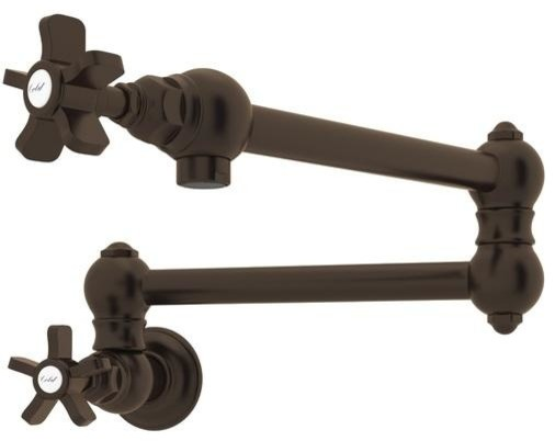 Rohl Country Kitchen Pot Filler Kitchen Faucet, Tuscan Brass.