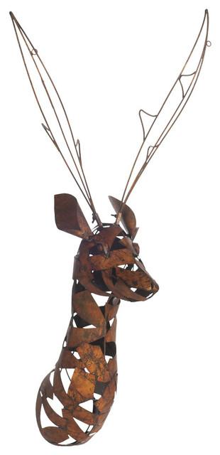 Metal Deer Head Statue Wall Decor