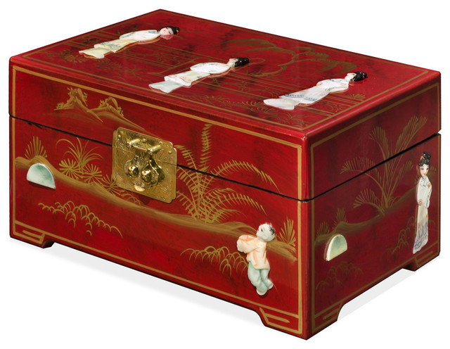 Oriental Jewelry Box With Red Lacquer Finish And Mother Of