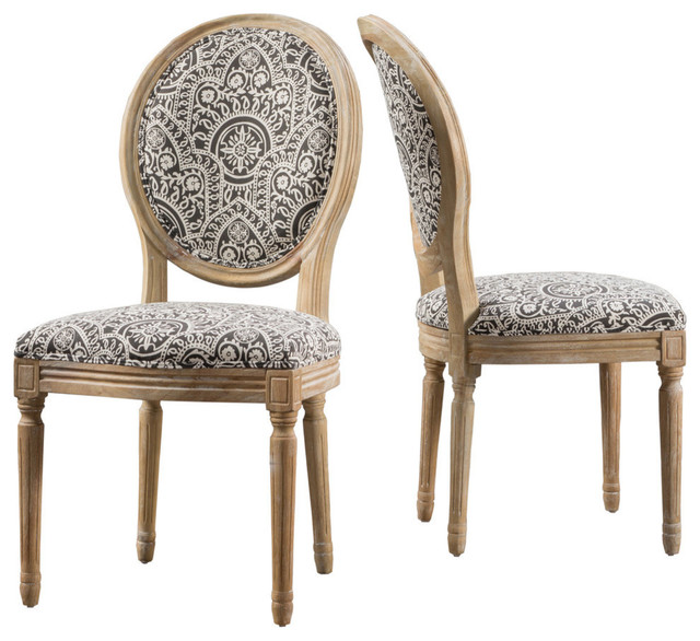 hot sale online e7fcd 3a6f9 GDF Studio Hawthorne Black and White Patterned Fabric Dining Chairs, Set of  2
