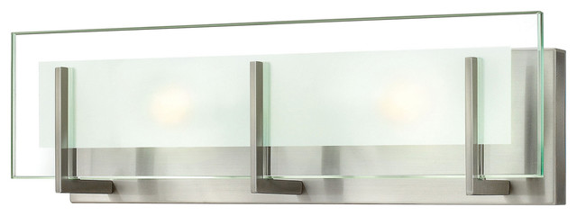 Latitude Bath 2-Light, Brushed Nickel With Clear Beveled Inside-Etched Glass