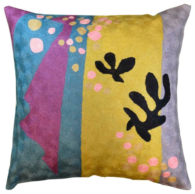 Matisse Purple Yellow Pillow Cover Cut Outs Ii Flower Wool 18 X