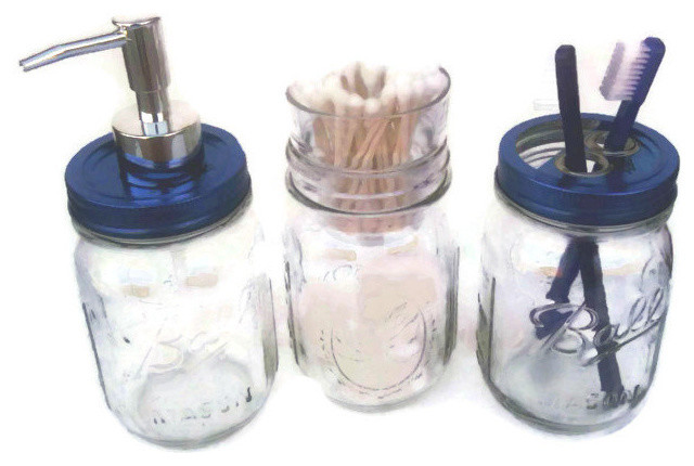 ball jar bath set with blue design series lids mason jar bath set