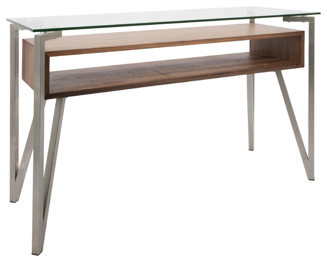 Hover Mid-Century Modern Console Table With Brushed Stainless Steel Frame.