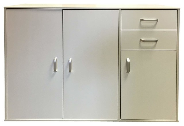 Sideboard, Solid Wood With 3-Door and 2 Storage Drawers, Modern Design, White