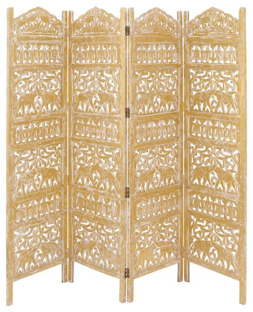 "Wood Gold 4 Panel Screen, 80""x72"""