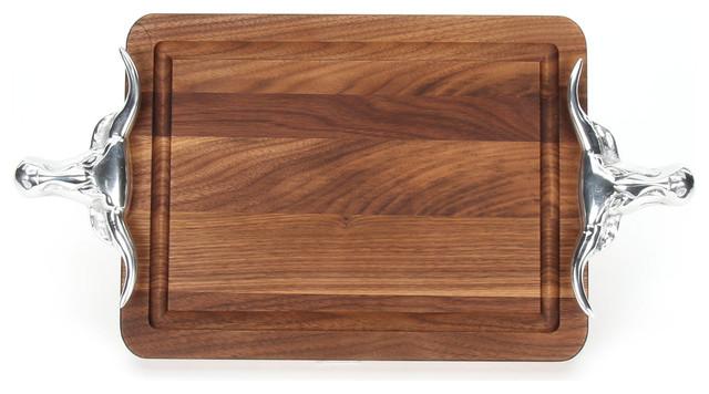 """BigWood Boards Rectangle Cutting Board, Longhorn Handles, Walnut, 9""""x12""""x0.75"""""""