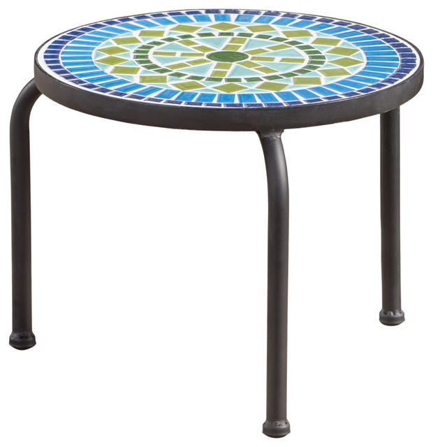 Isildur Outdoor Blue And Green Ceramic Tile Iron Frame Side Table.