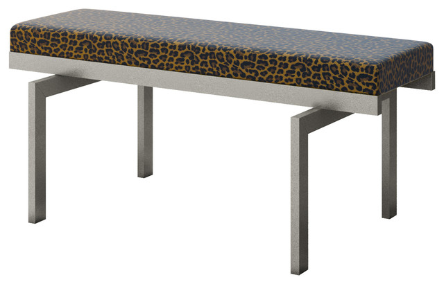 Leopard Cheetah Cat Animal Skin Print Accent Bench Modern Upholstered Benches By Designer