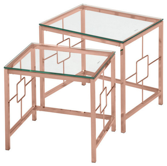 Athena 2-Piece Nesting Tables, Rose Gold.