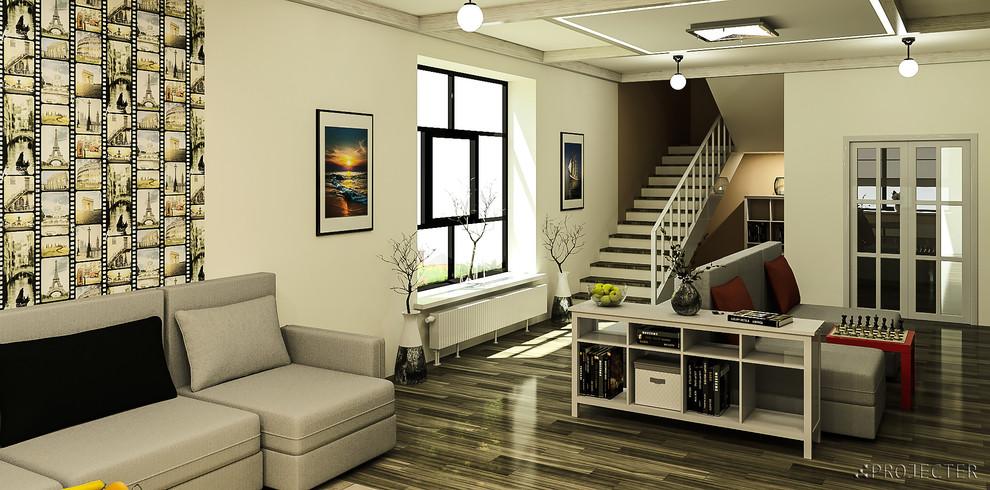 Скандинавская гостиная в частном доме: вид на лестницу на второй этаж