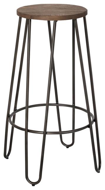 26 Elm Metal Counter Stool Wood And Black Set Of 4 Industrial