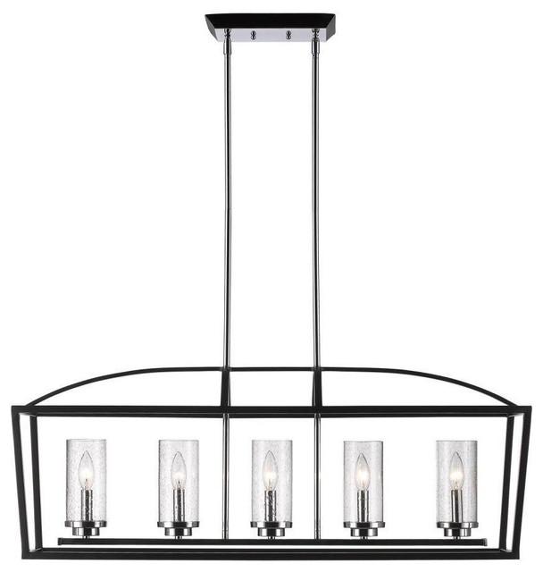 Golden 5-Light Linear Pendant, Black - Transitional - Kitchen Island Lighting - by Lighting and ...