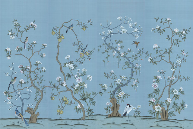 Chinoiserie wall mural jinan reviews houzz for Asian mural wallpaper
