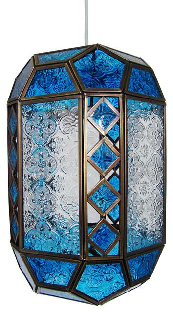 Mottled Glass Easy-Fit Pendant Shade, Blue