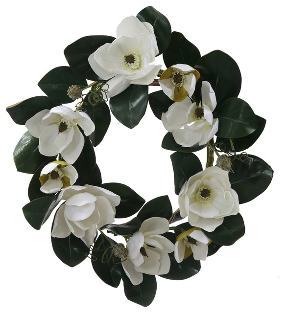 """26"""" White Magnolia Flower And Leaves Artificial Silk Floral Wreath, Unlit."""