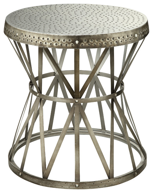 Nickel Round Table Industrial Side Tables And End Tables