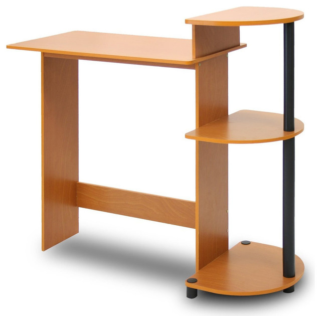 simple modern home office computer desk cherry black finish desks and