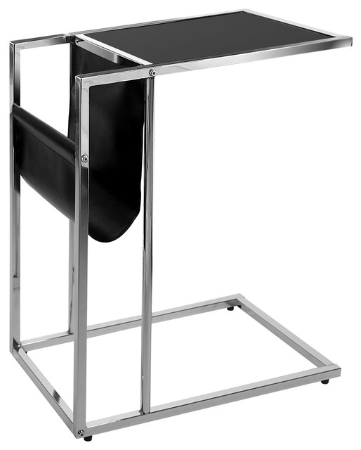 Accent Table, Black, Chrome Metal With A Magazine Rack Contemporary Side  Tables
