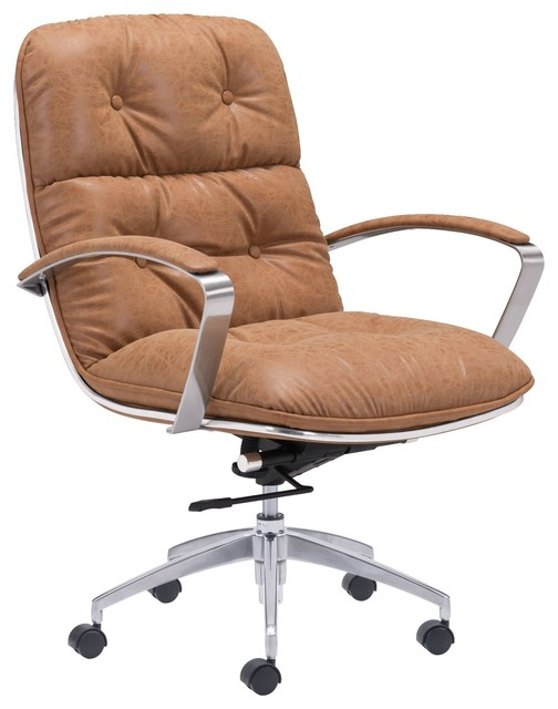 Industrial Antique Vintage Style Work Home Office Chair, Brown, Faux Leather