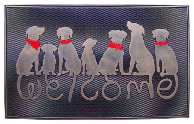 Dog Tail Welcome Rubber Doormat.