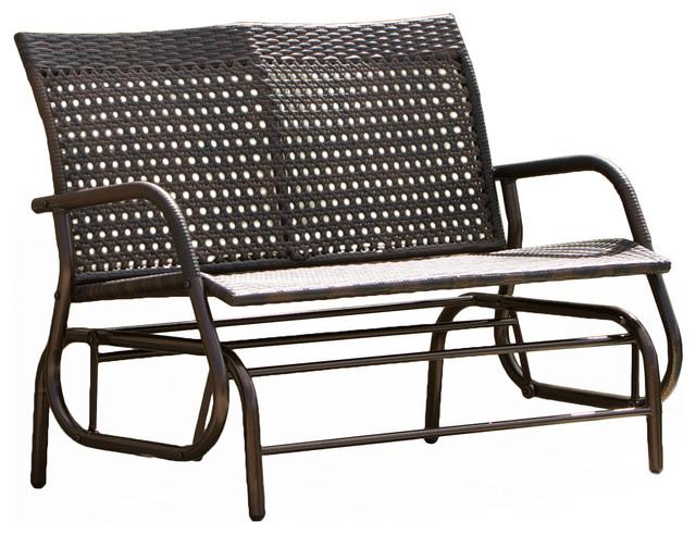 Burbank Outdoor Brown Wicker Glider Bench Contemporary