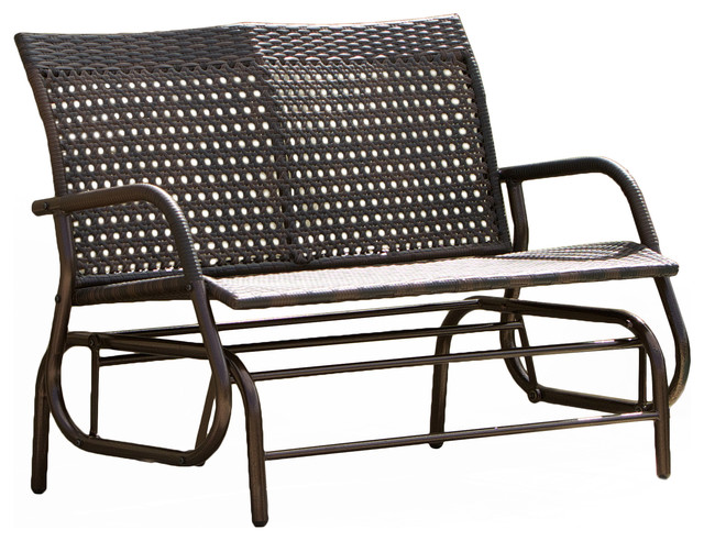 Burbank Outdoor Wicker Glider Bench, Brown Transitional Outdoor Benches