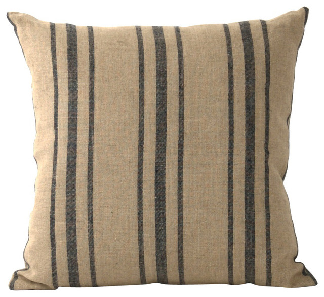 Blue Striped Decorative Pillows : Linen Striped Pillow - Beach Style - Decorative Pillows - Other - by Zentique, Inc.