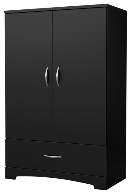 South Shore Step One Armoire, Pure Black.
