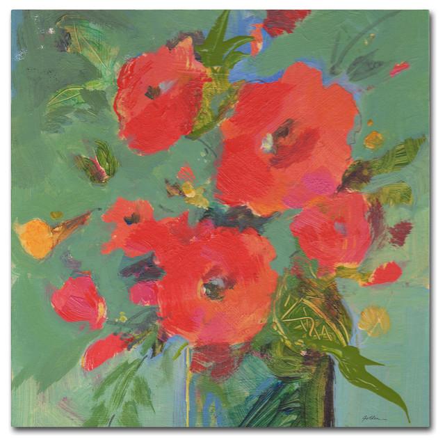 "Sheila Golden &x27;crimson Bouquet&x27; Canvas Art, 18""x18""."