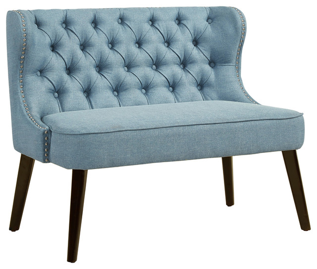 Button Tufted Wing Back Bench, Light Blue.