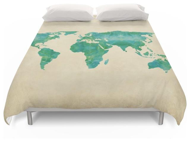 Society6 Watercolor World Map Duvet Cover  Contemporary  Duvet