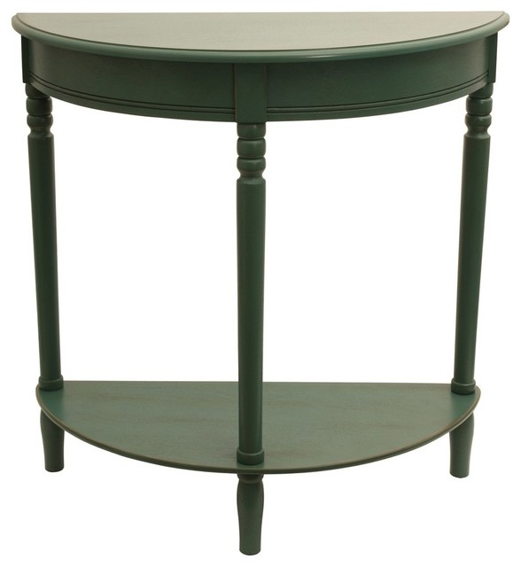 Decor Therapy Half Round Accent Table, Antique Teal Side Tables And End