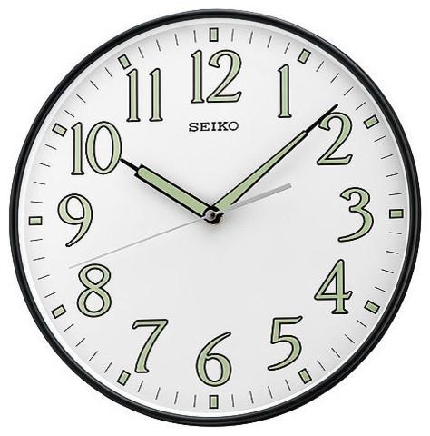 seiko wall clock black metallic case with quiet sweep