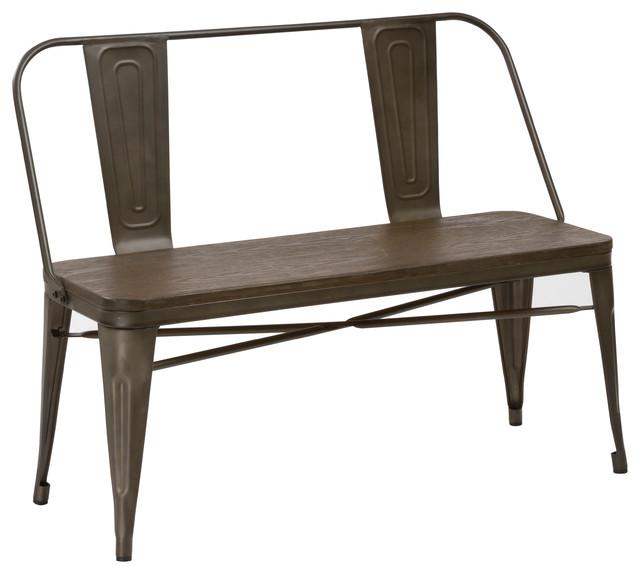 Industrial Antique Rustic Wood Metal Dining Bench Full Back Garden Patio.