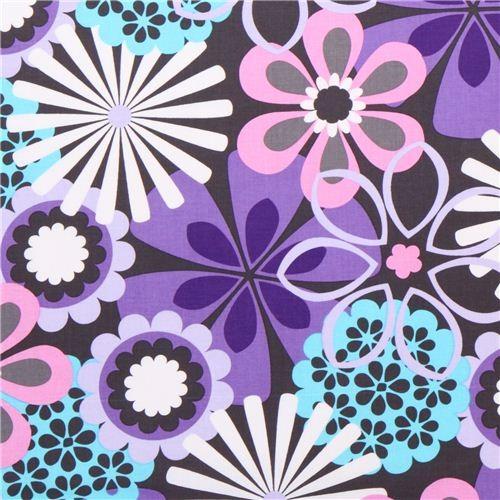 dark grey flower fabric by Michael Miller purple flowers