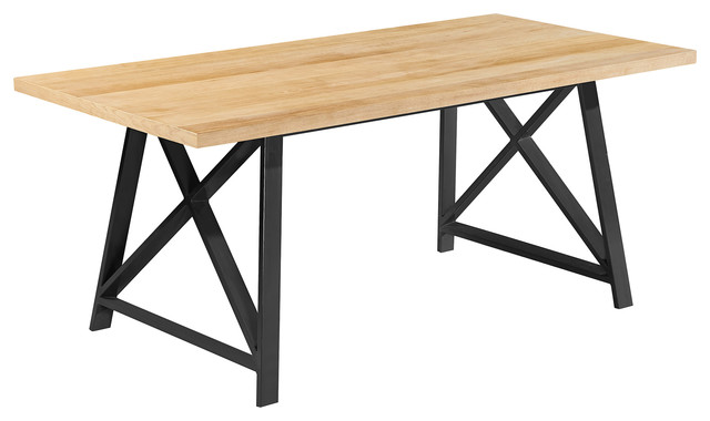 71  Modern Wood Table With Gray Steel Metal Legs  Light industrial dining. 71  Modern Wood Table With Gray Steel Metal Legs   Industrial