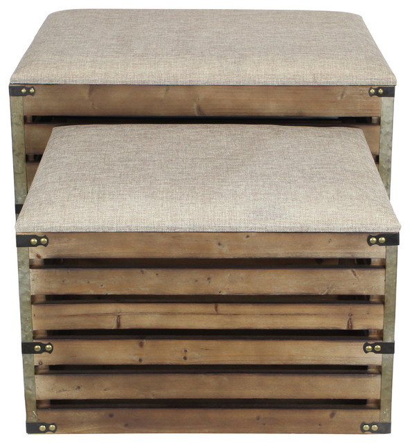Set Of 2 Rectangular Wood Slat Storage Bench With Metal Accent And