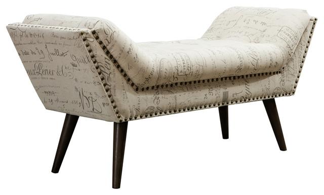 Beige Upholstered Bench With Print Design, Bedroom Bench.