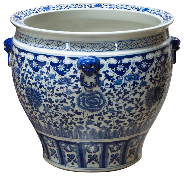 Hand Painted Blue And White Canton Fishbowl Asian Indoor Pots